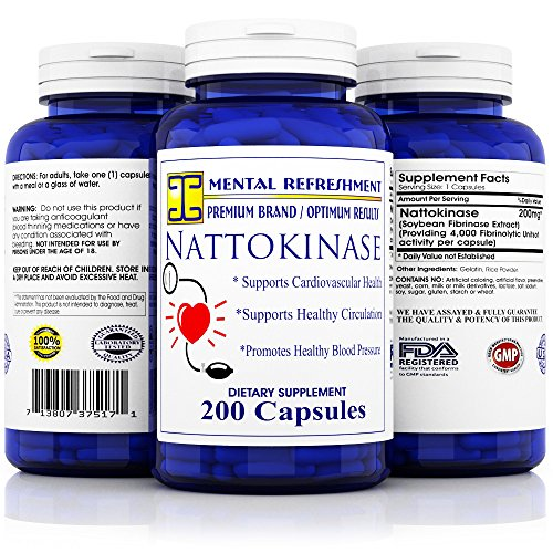 Mental Refreshment: Nattokinase 200 mg, 200 capsules - Best for Maintaining a Healthy Heart, Natural Blood Thinner (1 Bottle) by Mental Refreshment Nutrition