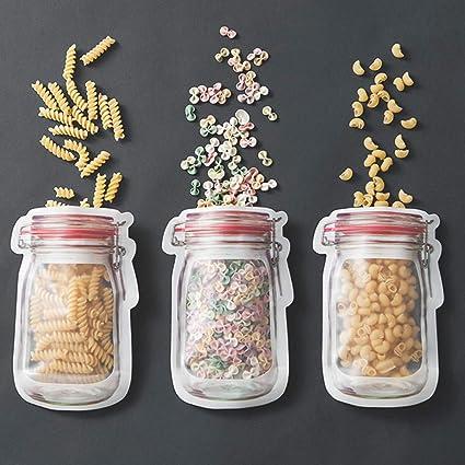 Reusable Mason Bottle Ziplock Bag Food Storage Snack Sandwich Leak Proof