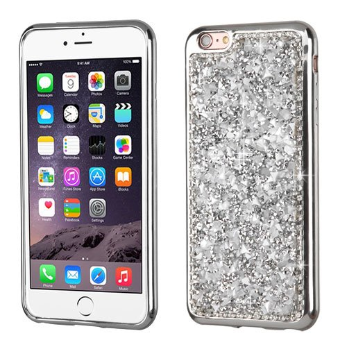 ShopAegis - [RHINESTONE TPU] [Silver] Resin Stones Electroplated Frame Mini Bling Crystals [Premium 2.0MM TPU/ Durable / Skin Protective / Anti-Scratch] Phone Cover Case for Apple iPhone 6/6s Plus + ()