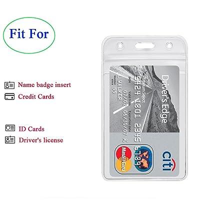Pair Hard Plastic Badge ID Card Holder Horizontal Employee Name Tag  W