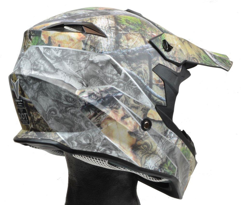Vega Helmets VF1 Lightweight Dirt Bike Helmet – Off-Road Full Face Helmet for ATV Motocross MX Enduro Quad Sport, 5 Year Warranty (Skull Camo, X-Large) by Vega Helmets (Image #2)
