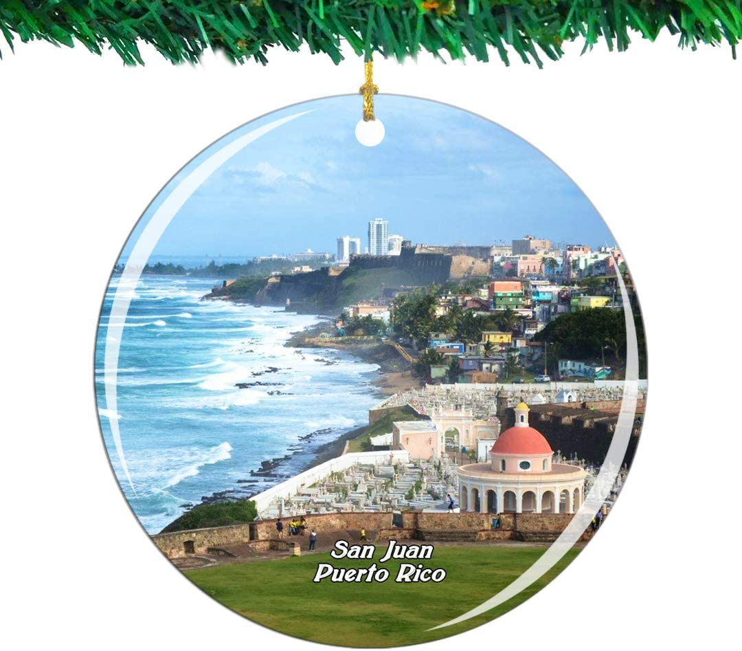 Weekino Old San Juan Puerto Rico Christmas Ornament City Travel Souvenir Collection Double Sided Porcelain 2.85 Inch Hanging Tree Decoration