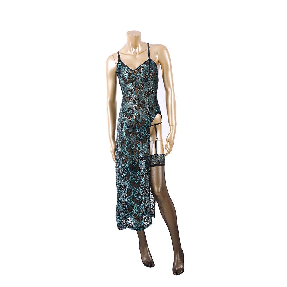 Selebritee Retro Qipao Embroidery Dress Lingerie Costumes Nightwear Negligee Set