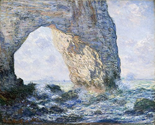 (Wieco Art The Manneporte Canvas Prints Wall Art of Claude Monet Famous Oil Paintings Reproduction Classic Seascape Sea Beach Pictures Artwork Ready to Hang for Bedroom Bathroom Home Office Decorations)