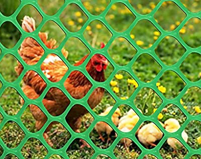 V Protek 4x50ft Plastic Poultry Fence Poultry Netting, Chicken Net Fence,Green