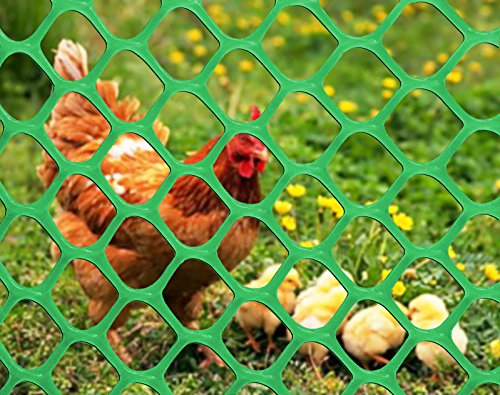 V Protek 5x15ft Plastic Poultry Fence Poultry Netting, Chicken Net Fence For Flower Plants Support,Green by V Protek