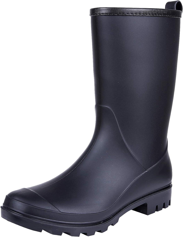 Litfun Women's Mid Calf Rain Boots Waterproof Lightweight Garden Shoes