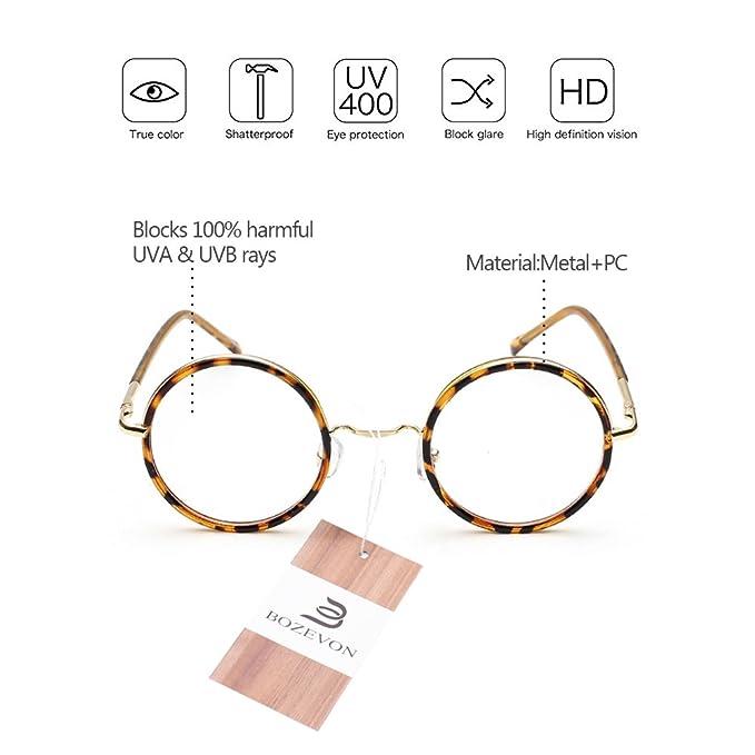 BOZEVON Vintage Lunettes de Vue Rondes Unisex Cadre Frame Lentille Claire pour Homme et Femme, ambre