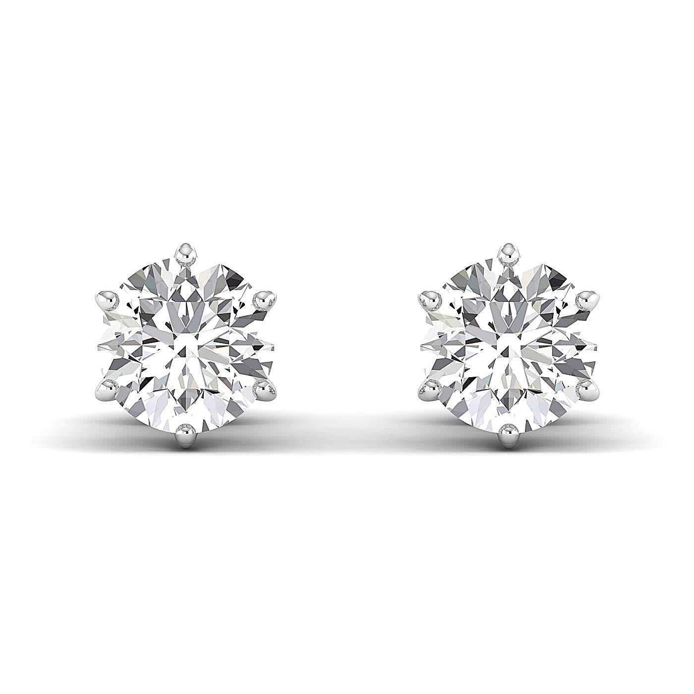 Round Brilliant 18K white-gold GH//VVS Stud Earrings for Women perfect Jewelry Gifts for Women Teen Girls Earring Studs 0.3 to 4 Carat Moissanite Stud Earrings