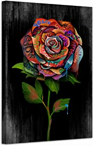 LevvArts Modern Graffiti Canvas Wall Art Abstract Colorful Rose Painting Pop Poster Art Prints Contemporary Street Art for Living Room Bedroom Wall Decor Stretched and Framed Ready to Hang 24x36