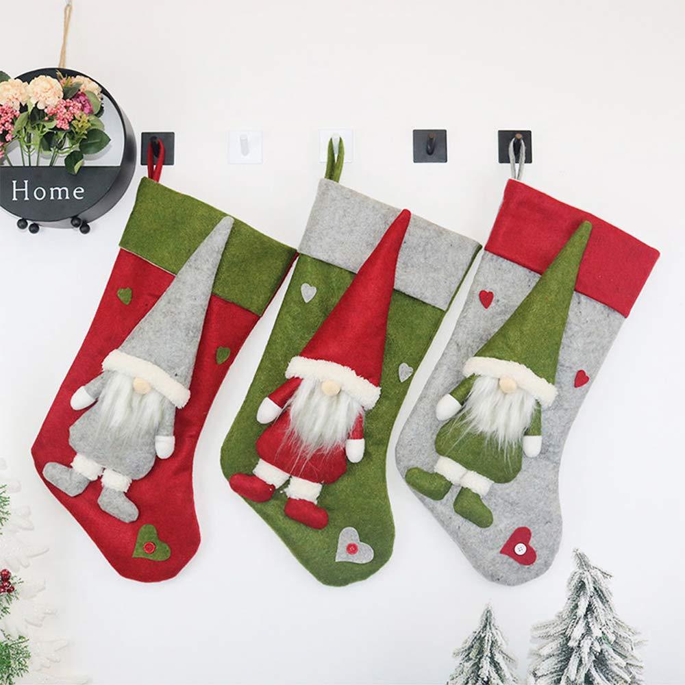 Nikolausstiefel Weihnachtsstrumpf S/ü/ßigkeit Geschenkbeutel Weihnachtssocke aus Stoff Nikolaus-Strumpf Dekoration Anh/änger Wankd Weihnachtsstr/ümpfe grau