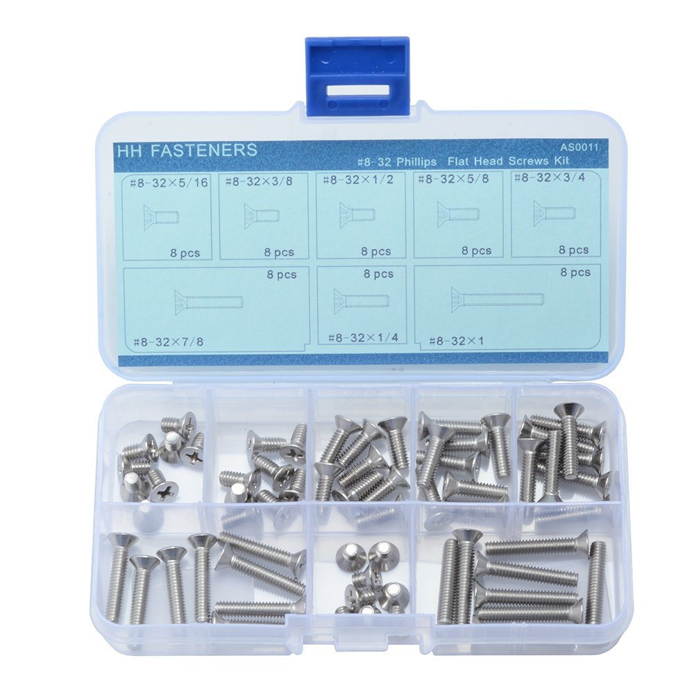 #0-80,#0-90 Phillips Pan Head Machine Screws Assortment Kit,10 Size 300 Piece ,304 Stainless Steel,Full Thread