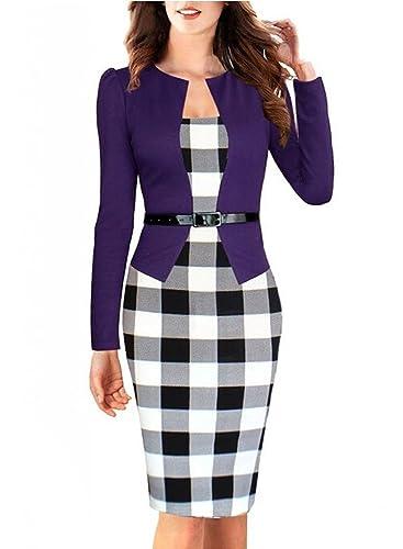 Fordestniy Vestito da donna, da ufficio, maniche a 3/4, modello aderente, scollo a V Purple Small