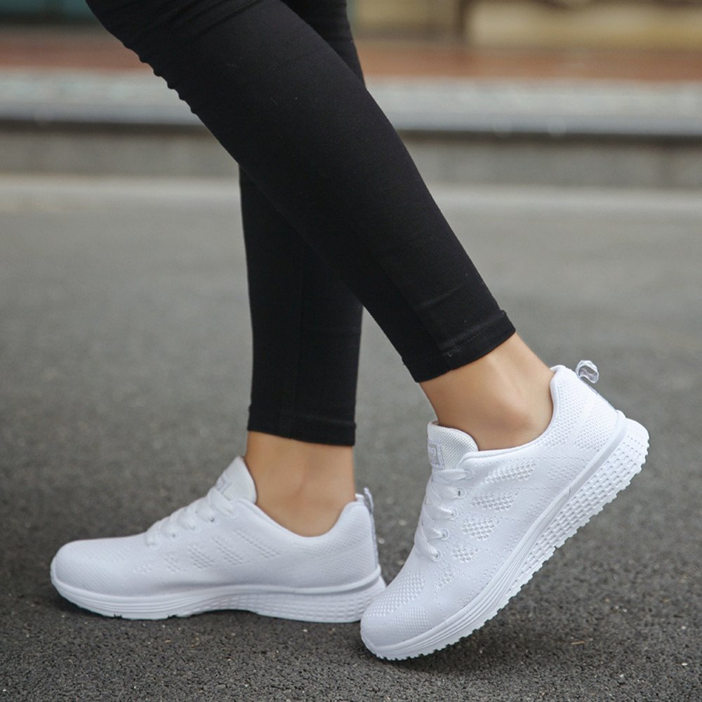 Lightweight Sport Athletic Sneakers Flats Naladoo Women Air Mesh Running Shoes