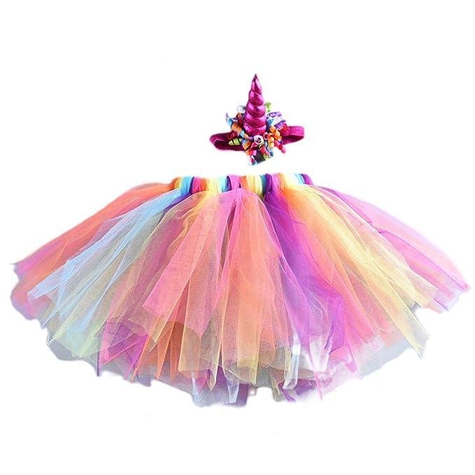 FENICAL Vestido de fantasía niña bebé arco iris falda tutú con unicornio diadema para Navidad fiesta