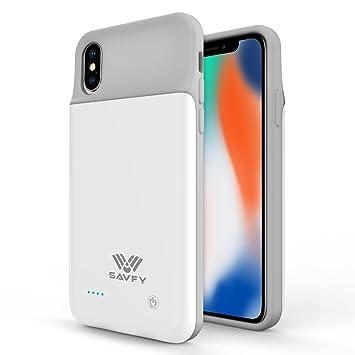 SAVFY Funda Batería iPhone X, 3200mAh Ultra Delgado Cargador Batería Carcasa Protectora para Apple iPhone x, Blanco