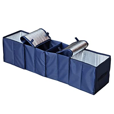 Autoark Foldable Multi Compartment Fabric Car Truck Van SUV Storage Basket Trunk Organizer and Cooler Set,Navy Blue,AK-134: Home Improvement