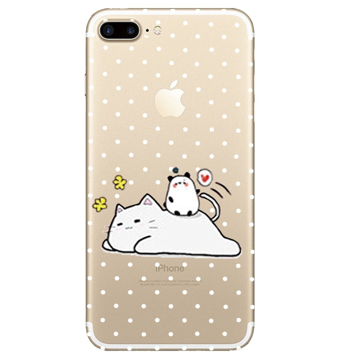 Flexible Transparent Design Slim TPU Back Bumper Cat for Girls Scratch Resistant No-Slip Protective Case for iPhone 7 Plus//8 Plus iPhone 7 Plus Case Cover AIsoar iPhone 8 Plus Case Cat