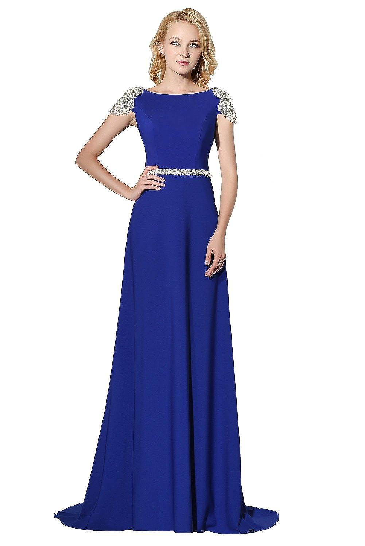 Ikerenwedding Women's Cap Sleeve U-Back Beading Long Clumn Chiffon Evening Dress