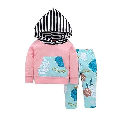 0b19a26f944 ESHOO Baby Long Sleeve Deer Print Hoodie Tops + Pants Kids Outfit Clothes