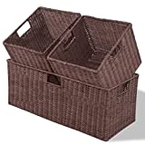CHOOSEandBUY 3 pcs Nesting Rectangular Cube Rattan Storage Baskets New Basket Set Office