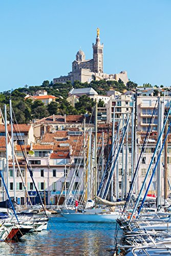 Marseille Provence-Alpes-Cote dAzur France View across Vieux-Port the Old Port to the 19th century Neo-Byzantine Basilica of Notre-Dame de la Garde Poster Print by Panoramic Images (24 x 18)