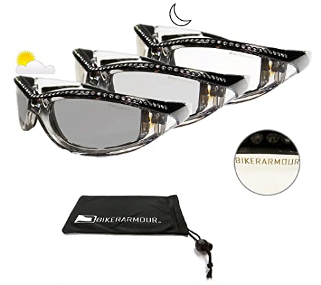 7bcd92b20c Image Unavailable. Image not available for. Color  Motorcycle Day Night  Transition Glasses for Women. Chrome and Black frame with rhinestones