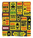Chaoran 1 Fleece Blanket on Amazon Super Silky Soft All Season Super Plush Outerpace Decor Warning Ufoigns with Alien Faces Heads Galactic Paranormal Activity Design Fabric