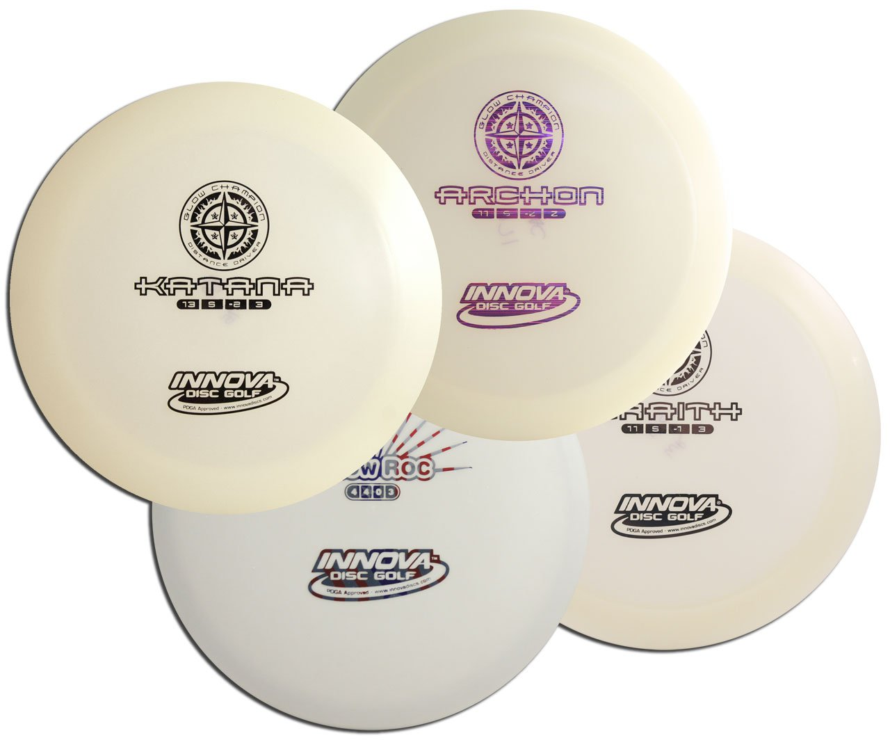 Innova Glow Disc Golf Set - Glow in the Dark 4 Pack by Innova