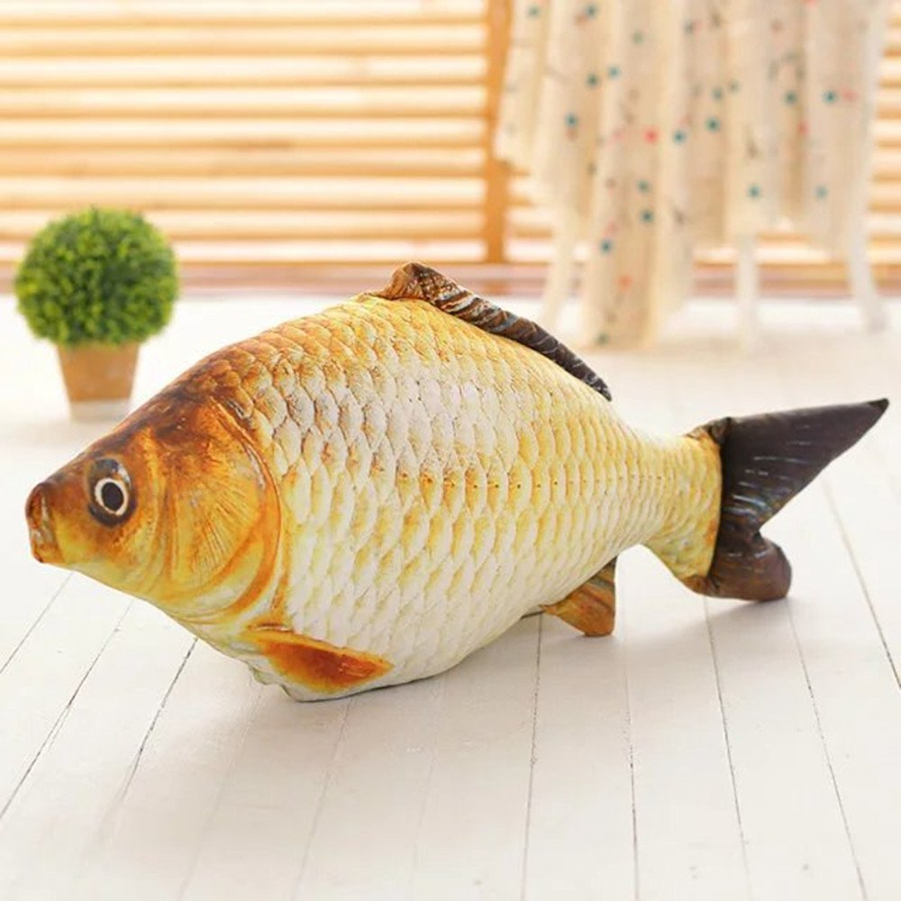 LTL 60CM Plush Toys Creative Simulation 3D carp Shape Pillow Bedding Cushion Sofa Beautifully Home Furnishing Decor,D,40cm,