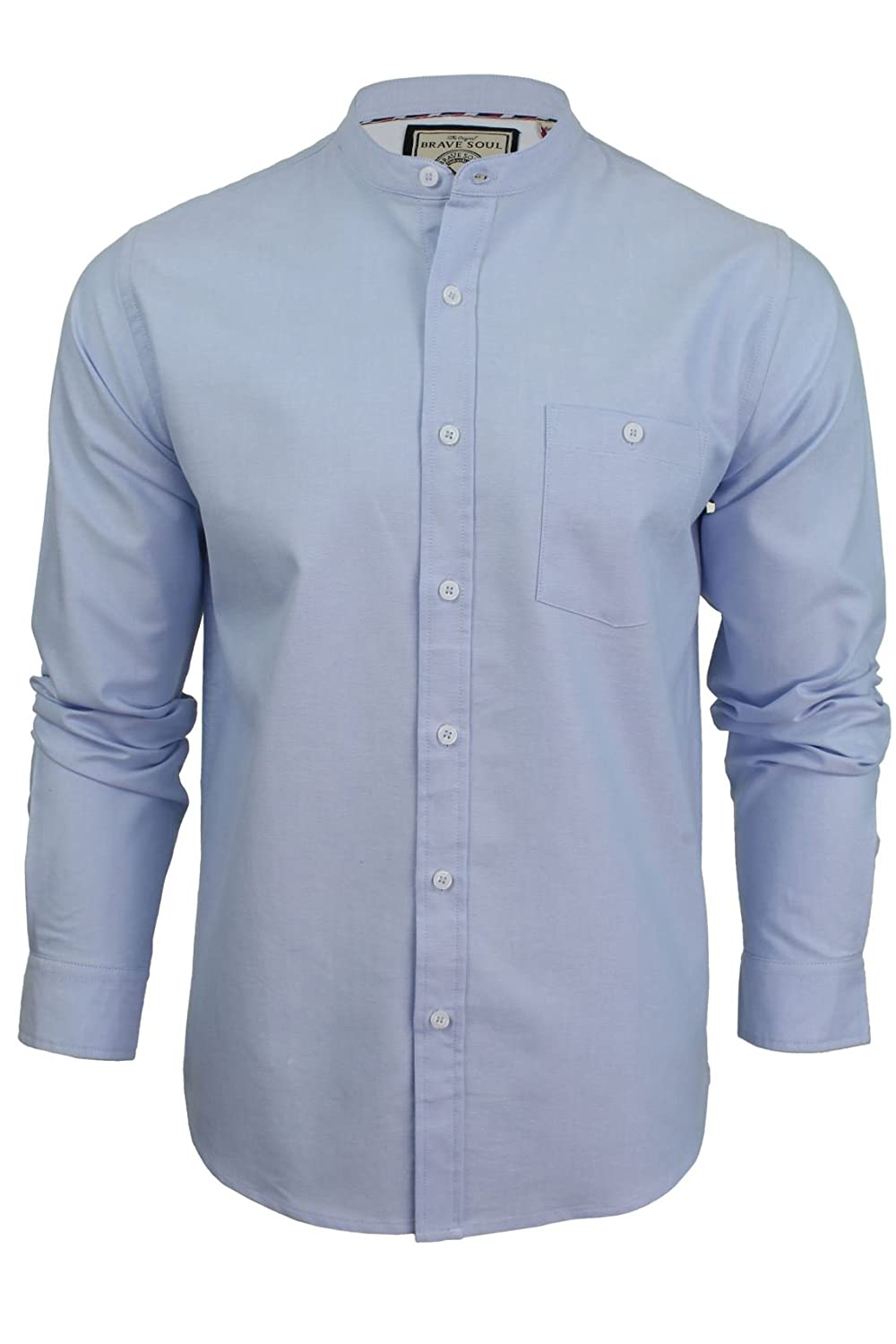 Mens Grandad Collar Oxford Shirt by Brave Soul 'Augustus' Long Sleeved