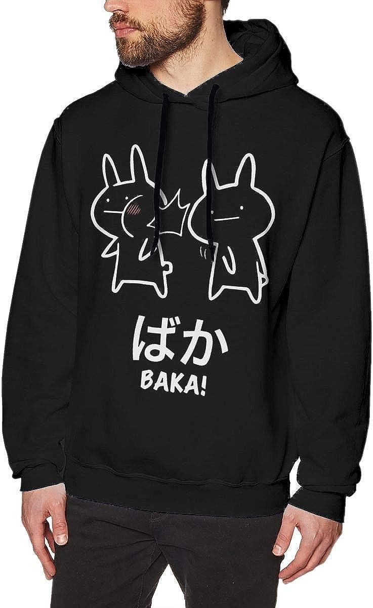 Mens Baka Rabbit Baka Japanese Long Sleeve Hooded Sweat Shirt Pullover