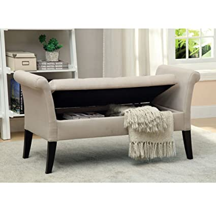 Gentil Furniture Of America Arronia Upholstered Storage Bench In Ivory