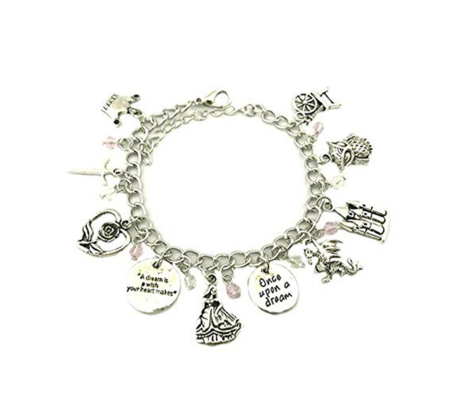 Outlander Brand Disney Sleeping Beauty Premium Quality Multi Charm Lobster Clasp Bracelet w/Gift Box