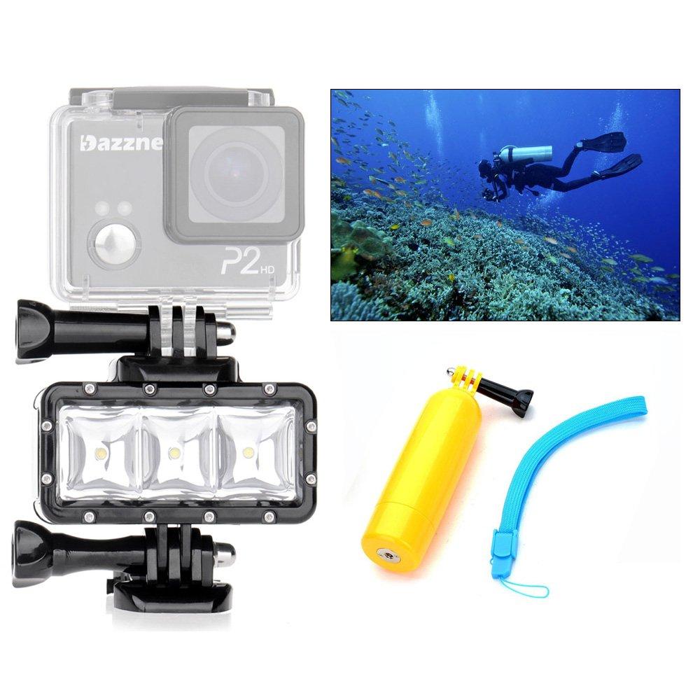 Orsda Video Diving Light - 30M Waterproof 3 LED Diving lamp video light + Floating Hand Grip Handle for GoPro Hero 4 3+ 3 Sports Camera Black OR007F