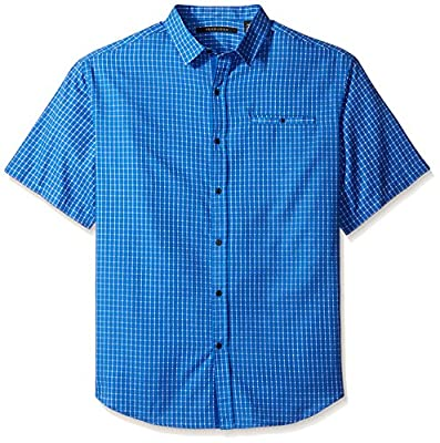 Sean John Men's Big and Tall Short Sleeve Yarn Dyed Dobby Shirt