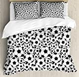 Ambesonne Soccer Duvet Cover Set Queen Size, Monochrome Design Pattern of Classical Football Balls Kids Boys Cartoon Pattern, Decorative 3 Piece Bedding Set with 2 Pillow Shams, Black White