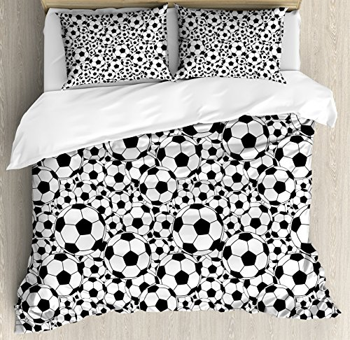 Soccer King Size Duvet Cover Set by Ambesonne, Monochrome Design Pattern of Classical Football Balls Kids Boys Cartoon Pattern, Decorative 3 Piece Bedding Set with 2 Pillow Shams, Black White by Ambesonne