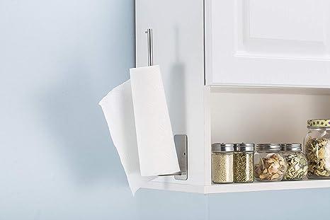 Portarrollos de cocina montado en la pared, autoadhesivo, dispensador de papel de acero inoxidable para la pared de la cocina, práctico organizador de cocina, 32 cm: Amazon.es: Hogar