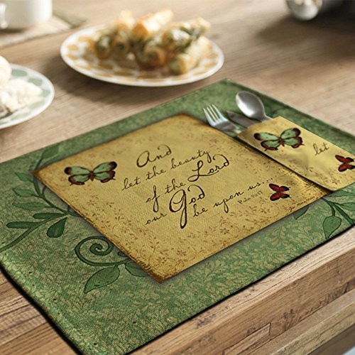 yazi Country Rustic Placemats Kitchen Dining Table Decoration Cotton Linen