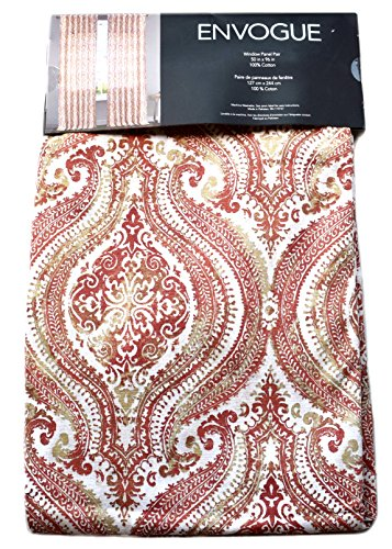Envogue Terracotta Azaro Vintage Bohemian Medallions 50-by-96-inches 100% Cotton Set of 2 Extra Long Window Curtains Panels Pair Drapery Rust Orange Red Clay Ivory Gold