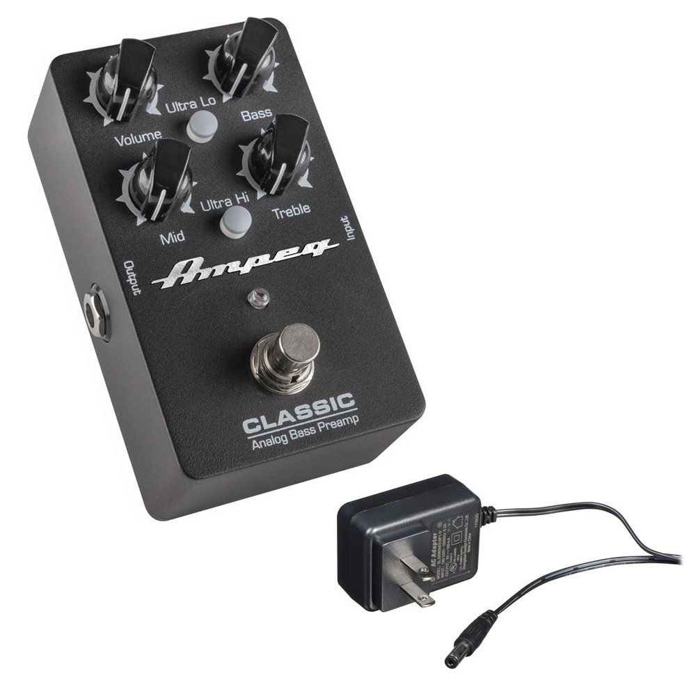 Ampeg Classic Analog Bass Preamp Pedal with Behringer PSU-SB 9VDC Power Adapter by Ampeg
