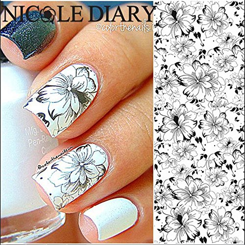 NICOLE DIARY Nail Art Flowers Water Transfer Stickers Elegant Nail Art Decoration NDS-32 (Korean Tattoo Sticker)