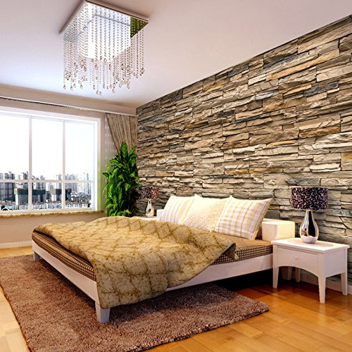 3D Wallpaper Bedroom Living Mural Roll Modern Faux Brick Stone Wall Background - 1