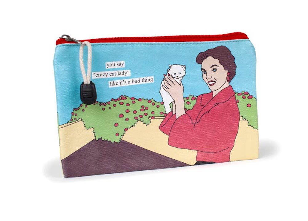 Anne Taintor Canvas Zipper Pouch Bag - You Say Crazy Cat Lady Like It's A Bad Thing