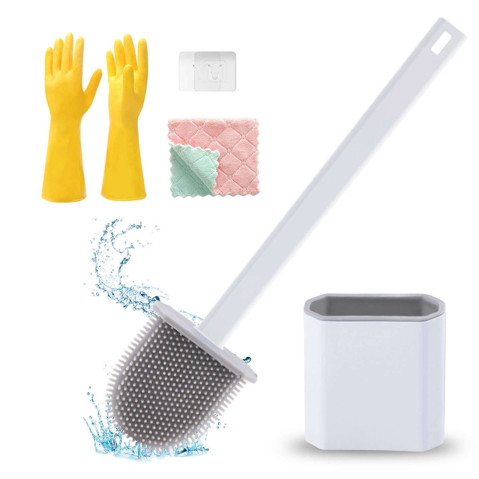 Silicone Toilet Brushes with Holder for Bathroom Deep Cleaning Quick Drying Wall