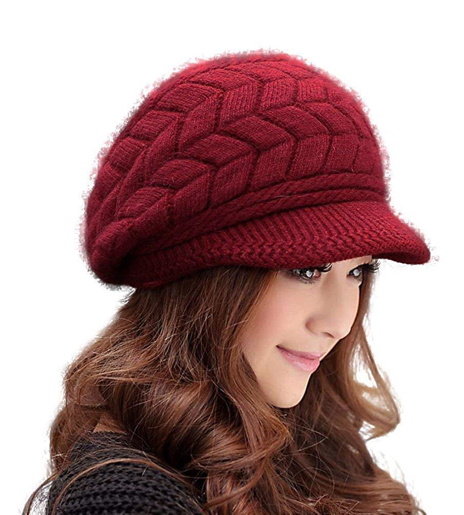 HindaWi Winter Hats for Women Girls Warm Wool Knit Snow Ski Skull Cap with Visor Beige NT2333-BG