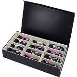 Asvert Boîte de Lunettes Coffret à Bijoux Présentoir en Cuir PU Plateau Elegant, Noir (12 lunettes-1)