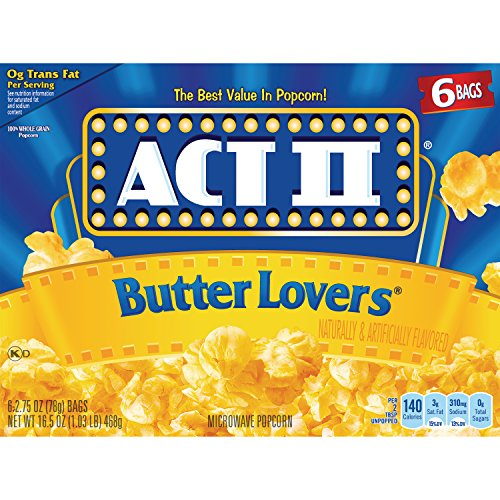 ACT II Butter Lovers Microwave Popcorn, 6-Count 2.75-oz. Bags