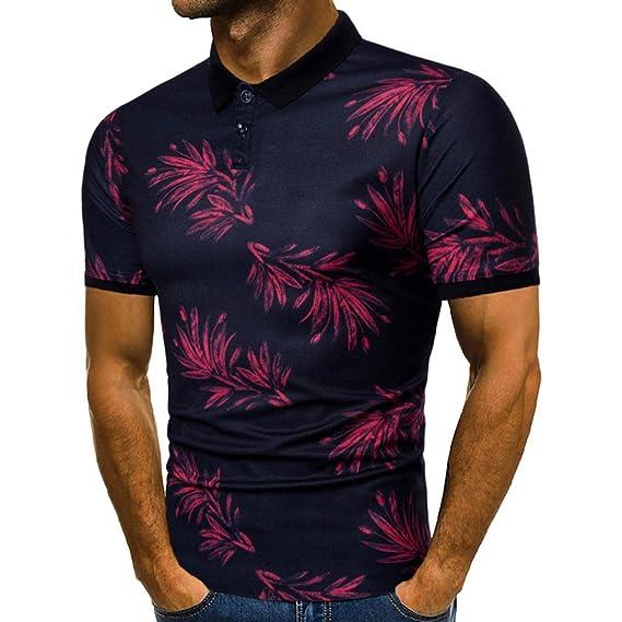 La nueva blusa superior de la manga corta impresa ocasional del verano de los hombres de